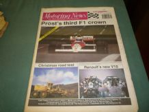 MOTORING NEWS 1989 December 20 F1 review, Renault V10 engine, Rallycross, Mo Nunn